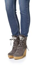 COCLICO SHOES NEW NAGY LACE UP PLATFORM WEDGE BOOTIES GRAY SUEDE BOOT 37 $475