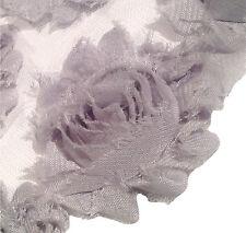 """1 yard silver 2.5"""" shabby chiffon rose trim flowers DIY baby headband"""