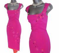 Karen Millen Hot Pink Stretch Silk Asymmetric Hem Cocktail Dress UK10  EU38