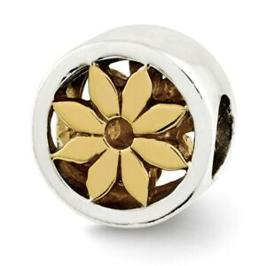 Flower Bead .925 Sterling Silver & Gold Plated Reflection Beads