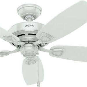 Hunter 48 in. Outdoor Damp Rated White Ceiling Fan with 5 White Plastic Blades