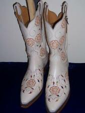 1883 BY LUCCHESE N4552 CREAM WITH FLOWER EMBROIDERY BOOTS COW GIRL BOOT SIZE 9 B