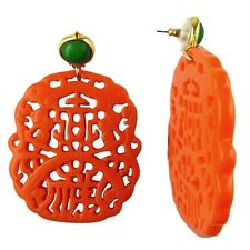Kenneth Jay Lane 22K Gold Mexican Resin Coral Cutout Earrings 7834EJLC Jade