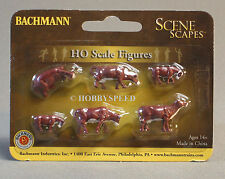 BACHMANN HO GAUGE COWS BROWN & WHITE figures farm animals train people 33102