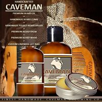 Caveman® Beard Oil Growth Kit + Beard Balm + Beard Wash + Comb + Brush 18 Scents