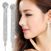 Fashion Silver Long Tassel Crystal Earrings Women Drop Dangle Stud Jewelry Gifts