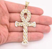 "3.5"" Huge Ankh Cross Jesus Pendant Charm Diamond Cut Real 10K Yellow White Gold"