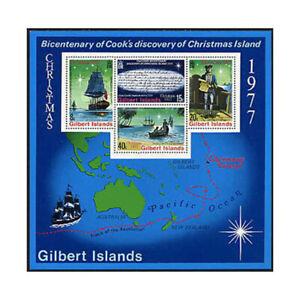 Gilbert Is, Sc #303a, MNH, 1977, S/S, Ships, CAPITAN COOK, CHRISTMAS IS, EDD-F