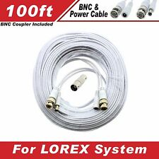 New High Quality White 100FT BNC CABLES FOR 8 CH LOREX SYSTEMS LH-1896, Eco3