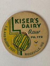 Kiser's Dairy Milk Bottle Cap Ridgeville Indiana IN IND Unused Excellent
