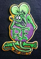 "OFFICIALLY LICENSED ED ""BIG DADDY"" ROTH RAT FINK HOT ROD PATCH GREEN & PURPLE"