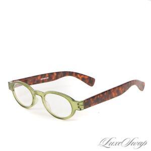 ICU Eyewear Matte Tortoise Wide Arm Lime Green Oval Nerdy Glasses Frames NR