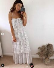 NEW H&M White Polka dot Tiered Strappy White Maxi Dress size uk 12 ,euro 40