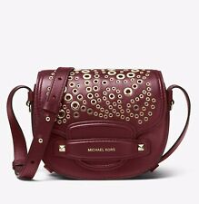8fc6fbce0372 NWT MICHAEL MICHAEL KORS Cary Small Grommeted Leather Saddle Bag MSRP $278