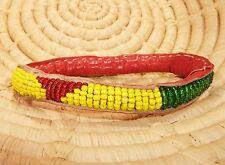 African Dogon Beaded Leather Bangle Bracelet SMALL ethnic tribal boho jbdt49