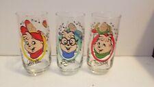 Set of 3 Vintage 1985 Alvin and The Chipmunks Promo Drinking Glasses