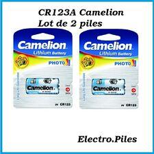 Lot de 2 piles/cells spéciales photos CR123A lithium Camélion