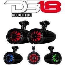 """2 Pack DS18 NXL 6UTV 6.5"""" Black Coaxial Marine Speakers RGB Light Pair"""