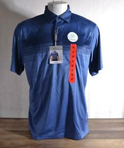 New Greg Norman Play Dry Polo Short Sleeved Blue Medium Cooling Fabric Easy Care