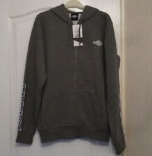 Mens Official UMBRO Grey Zip Up Front Zip Through Hoodie Hoody Size UK MEDIUM