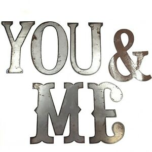 """Rustic You & Me Metal Sign Farmhouse Decor Raw Steel Word Wall Art 10"""" Letters"""