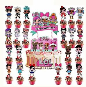 24 Pieces LOL Double Sided Cake/Cupcake Toppers,Cute Cartoon Character Birthday