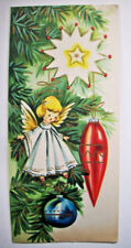 Hanging Tree ornaments angel bulbs start vintage Christmas greeting card 1E
