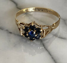 Ladies 9ct 375 Gold & Sapphire Cluster Ring ~ Size O ~ Fab Deep Blue Stones !!