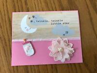 Baby  Card Pink Shaker Bottle Twinkle Flower Bow Handmade