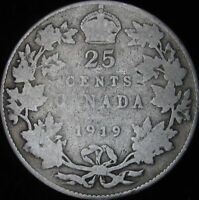 1919 Good+ Canada Silver 25 Cents - KM# 24 - JG