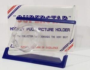 Superstar Crystal Acrylic Hockey Puck and Card Holder Display Case Blue Frame