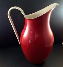 Emalia Pitcher Red White Enamel Enamelware Water Milk Poland Olkusz 1907 Emilia