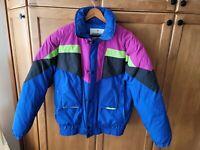 Vtg 80s 90s Size M OBERMEYER Puffer Jacket retro Ski Coat Color Block prime down