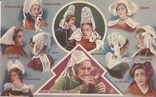 """carte postale les coiffes bretonnes édité par le savon """" le chat"""""""