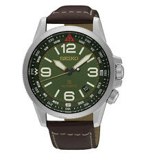 Seiko Prospex SRPA77 Automatic Compass Green Dial Brown Leather Watch SRPA77K1