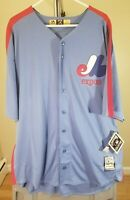 Montreal Expos MLB Majestic Classic Blue Tim Raines #30 3XL Jersey