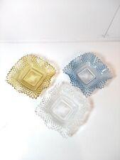 Elegant Set of 3 Westmoreland English Hobnail color Depression Glass Candy Dish