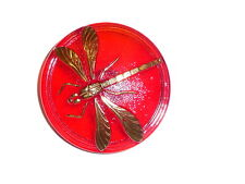 """Pretty Red Czech Glass w/ Gold Col Accents Dragonfly Shank Button 1-5/8""""  Red"""