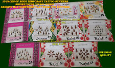 10 Packs BINDI Sticker Face Belly Button Dancers Decoration Tattoos Desig #12-22