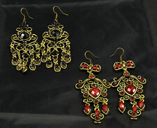 SILVER PLATED TIBETAN ANTIQUE COLOUR BLACK OR RED HEART  EARRINGS