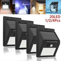 20LED Solar Powered PIR Motion Sensor Light Outdoor Garden Security Wall Lights