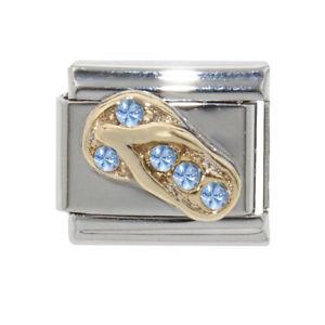 Flipflop with blue stones (b) Italian charm - fits 9mm classic Italian charms