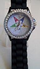 Silver finish Rhinestones Eastern Star Black Silicone  band fashion  wrist watch