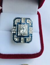 Antique Art Deco 14K White Gold Plated Blue And White Sapphires Size 8US