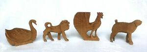 Four 19th/20th c PA carvings-Mountz Dog,Lion,Rooster & Swan-NR
