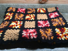 "Vintage Granny Square Afghan Blanket Throw Black & Orange & Gold 46"" x 66"""