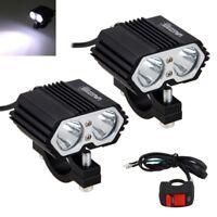 2Pcs 5000LM 30W 2X XML T6 Motorrad LED Zusatzscheinwerfer Scheinwerfer Licht Neu