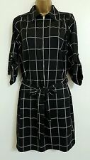 NEW Plus Size 16-22 Grid Check Printed Shirt Dress Black White Smart Casual