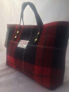 Harris tweed purse, red tartan bag, plaid purse, red purse, tartan tote