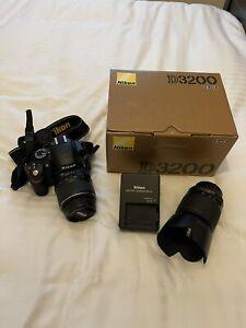 Nikon D D3200 24.2MP Digital SLR Camera AF-S DX VR 18-55mm & 55-200 Lens- Black